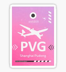 PVG Shanghai Pudong airport Pink Sticker