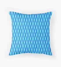 Mid-Century Ribbon Print - shades of blue Throw Pillow