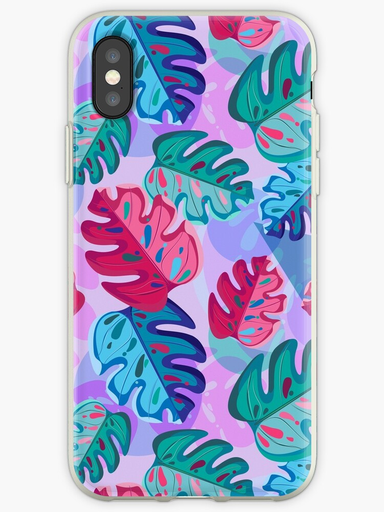 Colored monster leaves on a abstract pastel background by IrinkaArt