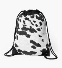 Cowhide Black and White 3 Drawstring Bag