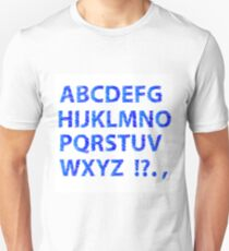 Sketch Alphabet Isolated on White Background. Set of Blue Sketch Letters. Decorative Scribble Symbols T-Shirt