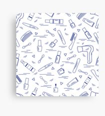 Cute pattern of various accessories of decorative cosmetics, hair  and face care products. Canvas Print