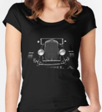 1929 Ford Model A, Hot Rod, black shirt Women's Fitted Scoop T-Shirt