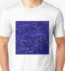 Set of Yellow Stars Isolated on Blue Polygonal Background. Stars Background. T-Shirt