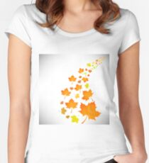 Falling Autumn Leaves Isolated on White Background Women's Fitted Scoop T-Shirt