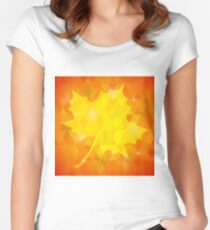 Single Yellow Mosaic Autumn Leaf on Orange Polygonal Background Women's Fitted Scoop T-Shirt
