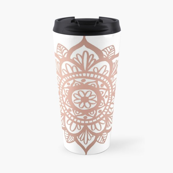 New Rose Gold Mandala Travel Mug