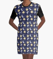 Greek Inspired Suns and Moons with Stars Graphic T-Shirt Dress