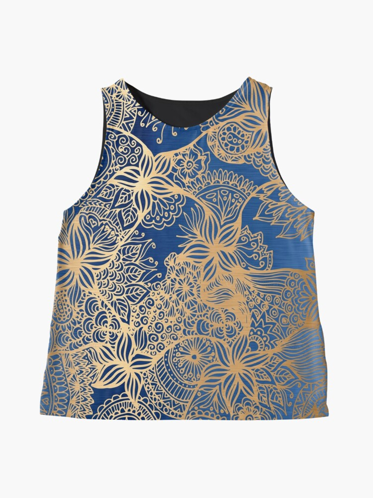 Alternate view of Blue and Gold Zen Doodles Contrast Tank