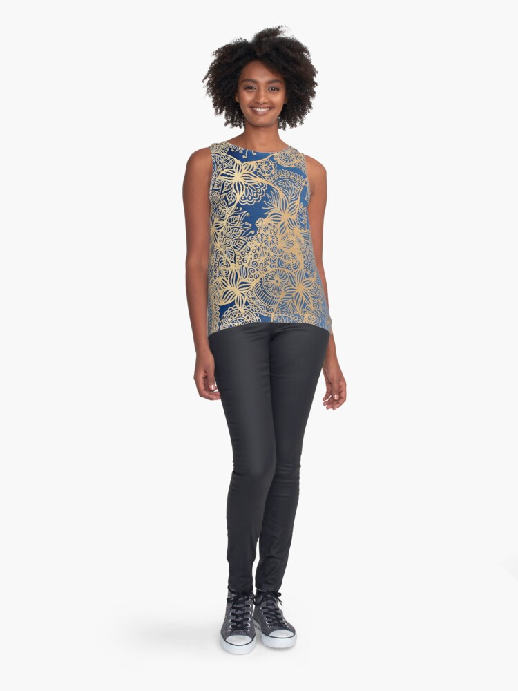 Alternate view of Blue and Gold Mandala Patterns Sleeveless Top
