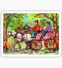 TAPPING MAPLE TREES CARRIAGE RIDE WHITE HORSE CABANE A SUCRE PAINTINGS CANADIAN LANDSCAPE CAROLE SPANDAU ART Sticker
