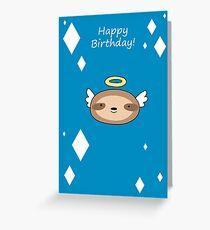 Happy Birthday - Angel Sloth Face Greeting Card