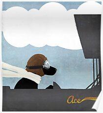 Black Lab stunt pilot flying ace piloting a biplane Poster