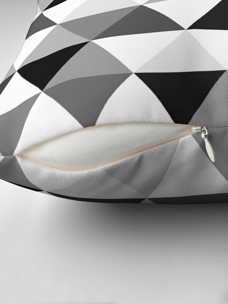 Alternate view of Triangles in black, grey and white Throw Pillow