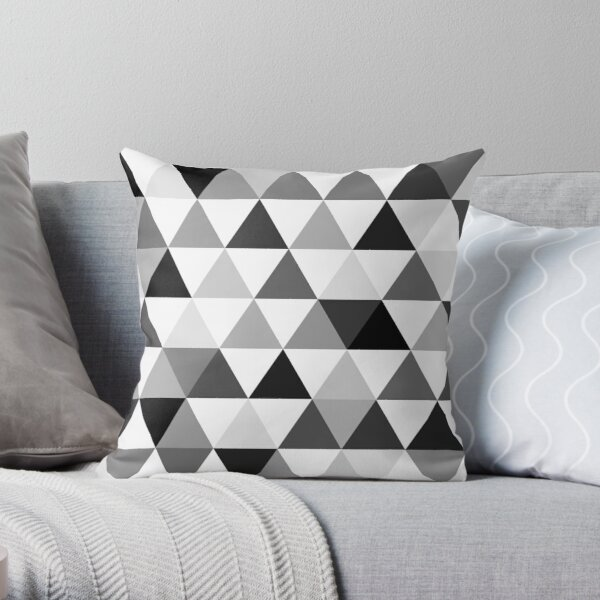 Triangles in black, grey and white Throw Pillow