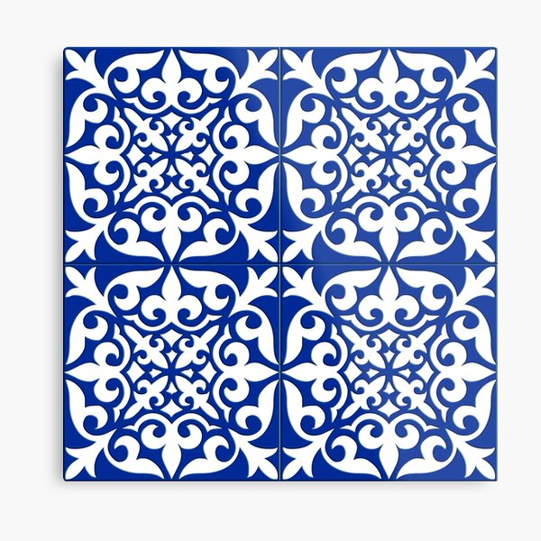 Moroccan tile - cobalt blue Metal Print