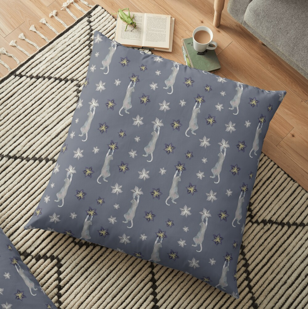 Cats climbing flowers on purple gray  Floor Pillow