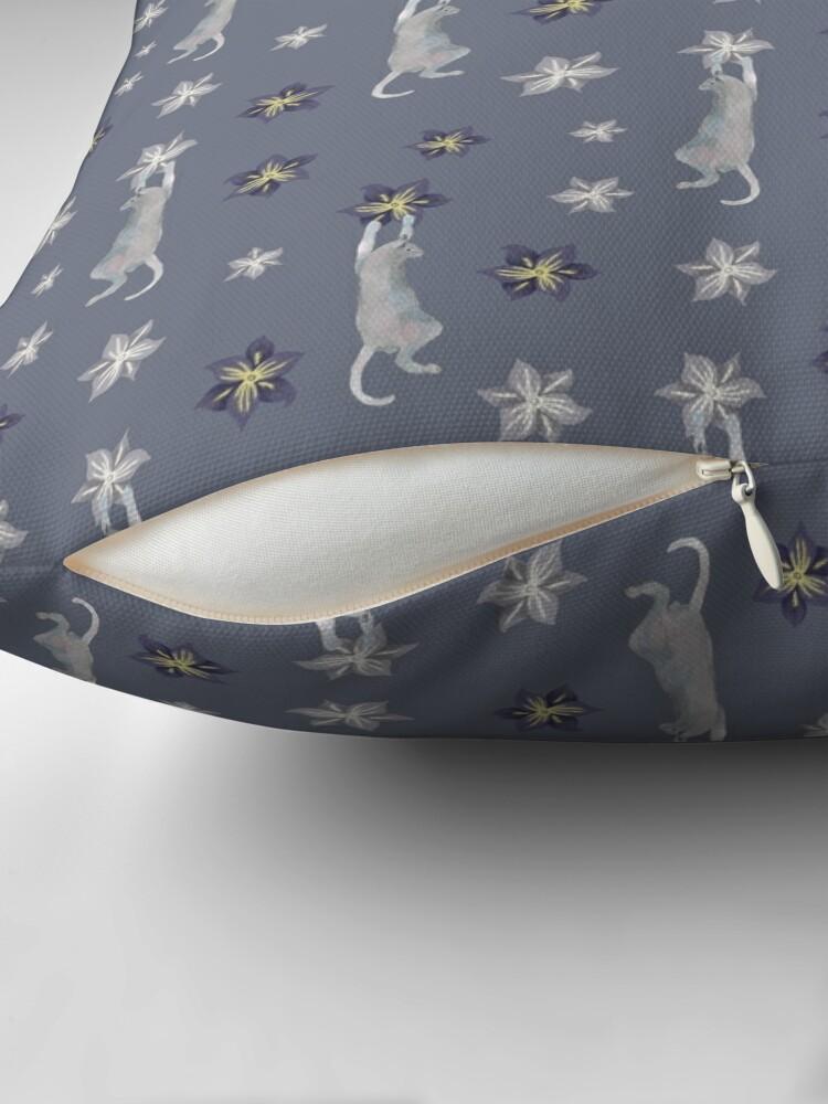 Alternate view of Cats climbing flowers on purple gray  Floor Pillow