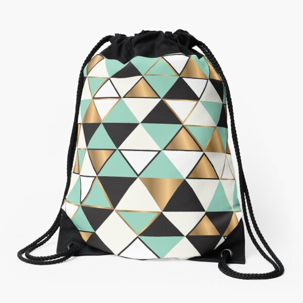 Abstract triangles in gold, black and turquoise Drawstring Bag