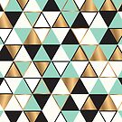 Abstract triangles in gold, black and turquoise by Amanda Bussio
