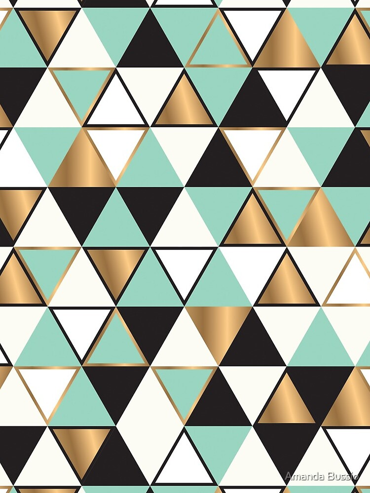 Abstract triangles in gold, black and turquoise by AmandaBussio