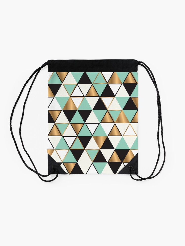 Alternate view of Abstract triangles in gold, black and turquoise Drawstring Bag