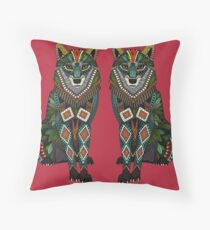 wolf red Throw Pillow