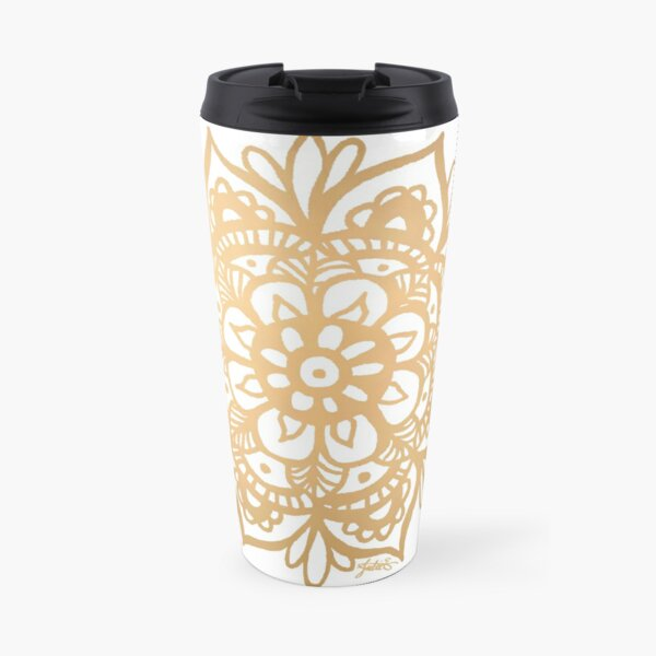 Gold Mandala Flower Travel Mug