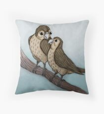 Sparrows on a tree branch Throw Pillow