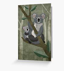 Koala mit Kind auf Eukalyptus Baum Greeting Card