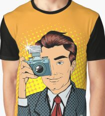 Photographer Paparazzi. Reporter with Camera. Media Representative. Man Taking a Picture. Journalist with Camera. Mass Media. Pop Art Banner.  Graphic T-Shirt