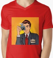 Photographer Paparazzi. Reporter with Camera. Media Representative. Man Taking a Picture. Journalist with Camera. Mass Media. Pop Art Banner.  T-Shirt