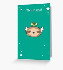 Thank You - Sloth Angel Face Greeting Card
