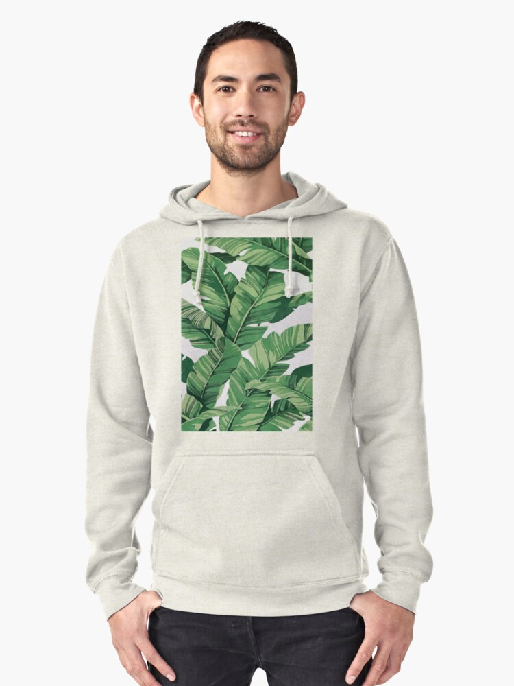 Tropical banana leaves VI Pullover Hoodie Front