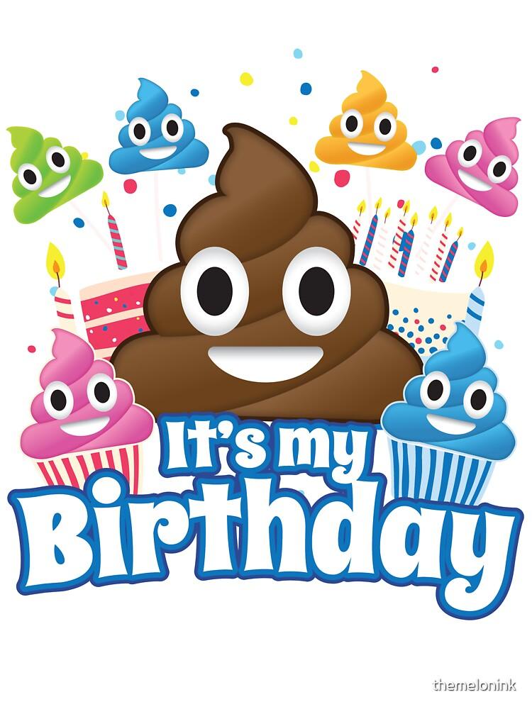 Kids Birthday Shirt Emoji Party Party Pooper 7th birthday funny t-shirts poop emoji