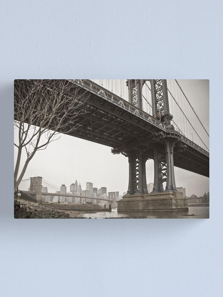Alternate view of Manhattan Bridge and Brooklyn Bridge over East River. New York City. Canvas Print