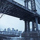 Manhattan Bridge and Brooklyn Bridge over East River. New York City. by Alan Copson