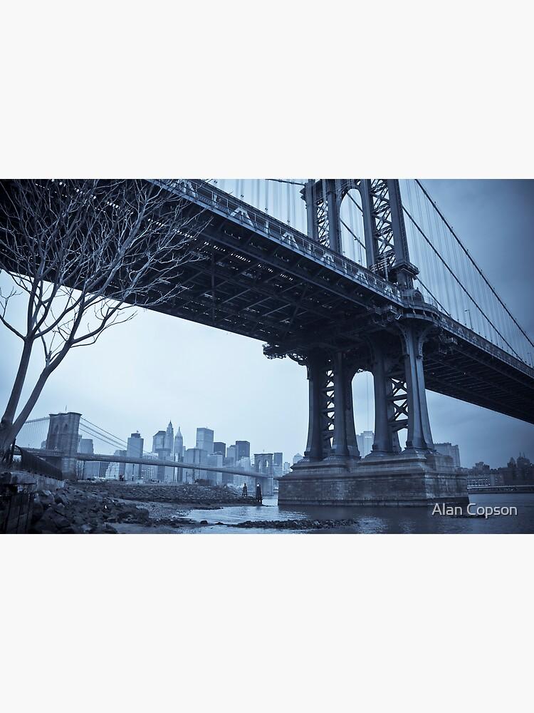 Manhattan Bridge and Brooklyn Bridge over East River. New York City. by AlanCopson