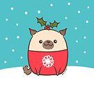 Christmas Pug Puppy  by Zoe Lathey