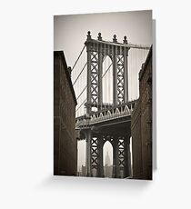 Empire State Building through arch of Manhattan Bridge Greeting Card