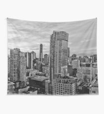 Vancouver Black And White Skyline  Wall Tapestry