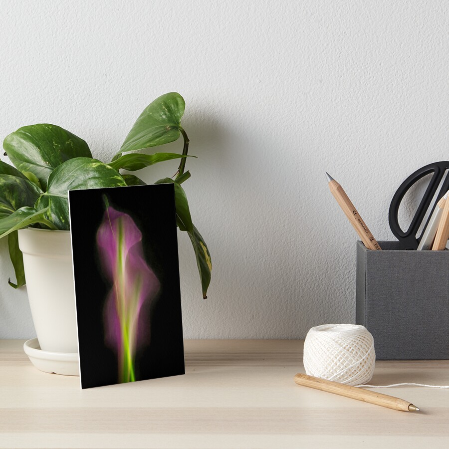 Abstract Purple Calla Lily on Black Background Art Board Print