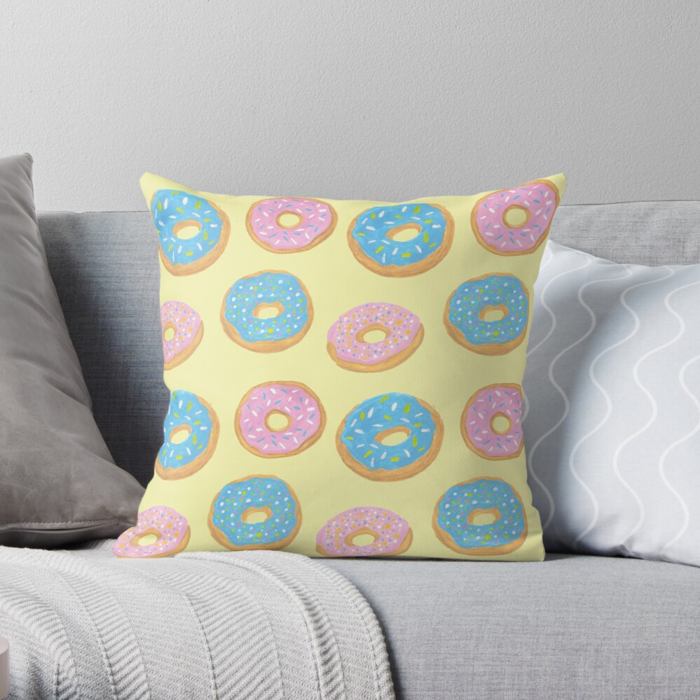 Pastel Donut Pattern Throw Pillow