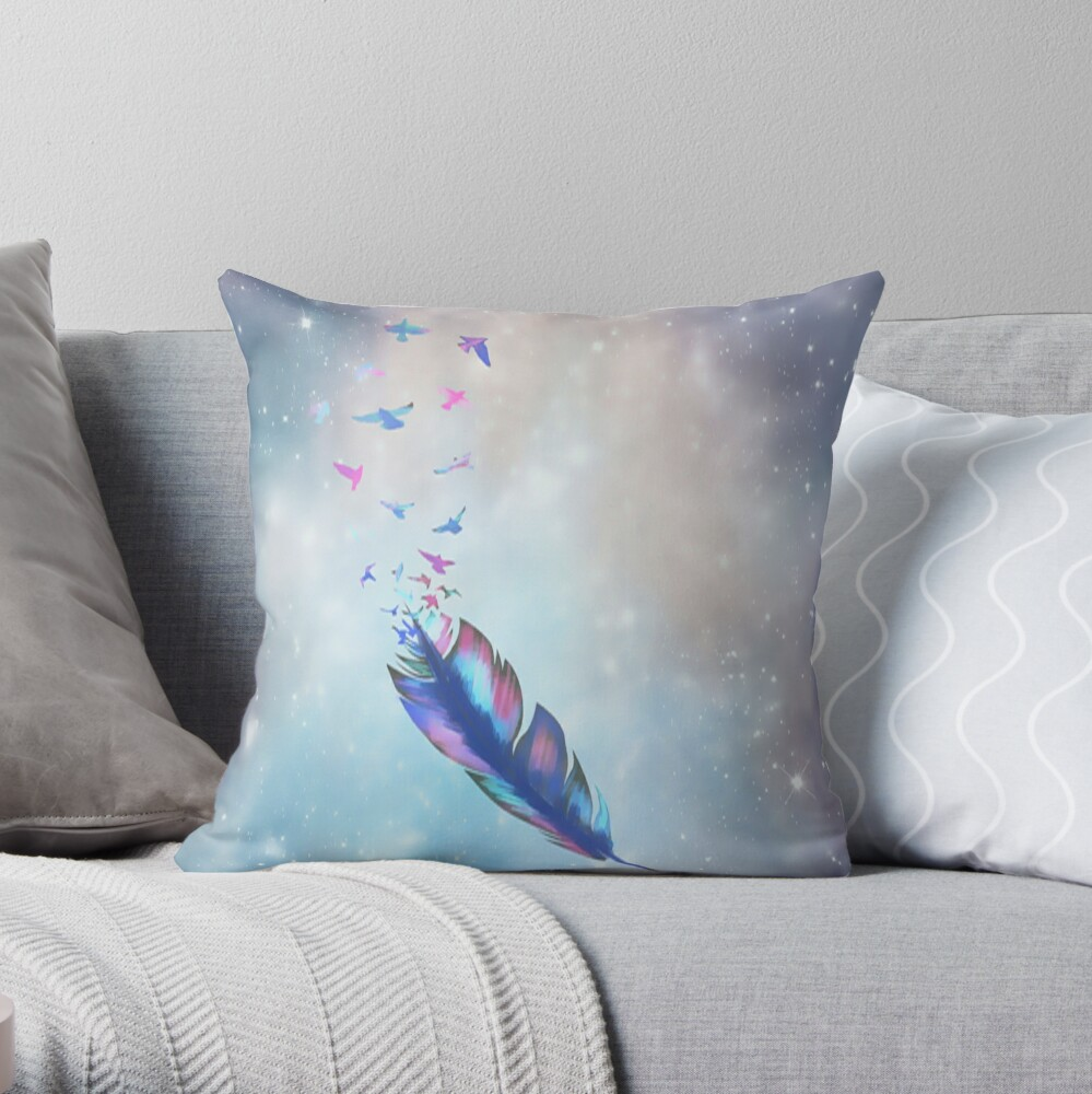 Feathered birds Throw Pillow