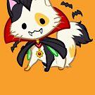 Halloween Chibi Winged Kitty - Calico Vampire Dracula Cat by Julia Lichty