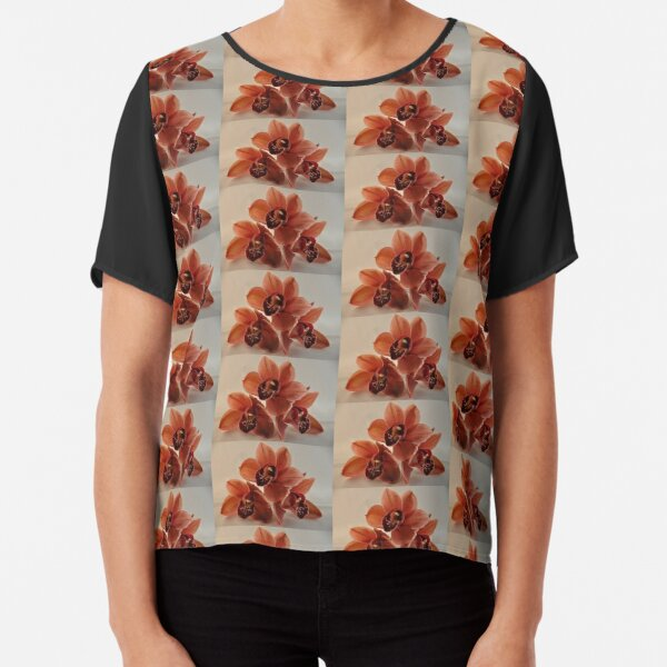 A Peach Orchid Bloom Pyramid Chiffon Top