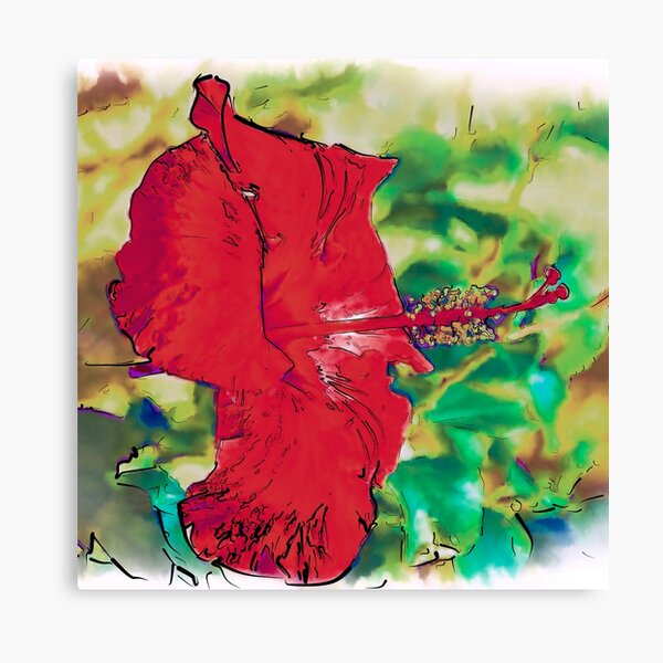 Red Hibiscus Flower Bloom Canvas Print