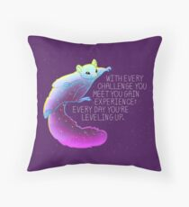 """Every Day You're Leveling Up"" Flying Space Squirrel Throw Pillow"
