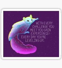 """Every Day You're Leveling Up"" Flying Space Squirrel Sticker"