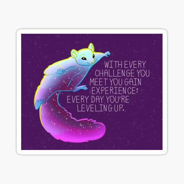 """""""Every Day You're Leveling Up"""" Flying Space Squirrel Sticker"""